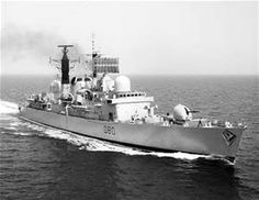 """British Royal Navy - """"HMS SHEFFIELD"""" (D90) a (410') British Type 42 Guided Missile Destroyer – Commissioned 16 February 1975 – Compliment: 287 Officers and Enlisted Men – Armament: 2 x Sea dart Suface to Air Missile Launchers and 1 x 4.5 Inch (114mm) Mk 8 Gun – Sunk, During the Falklands War, from an Argentine Air Attack – 10 May 1982 Falklands War, Narrowboat, Navy Ships, Royal Navy, Battleship, Sheffield, Armed Forces, British Royals, Wwii"""