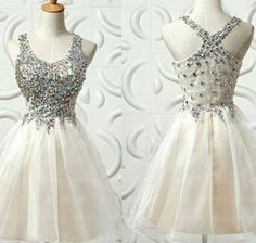 Halter Unique Homecoming Dress,Short/Mini Chiffon Beading Homecoming Dresses,Cute