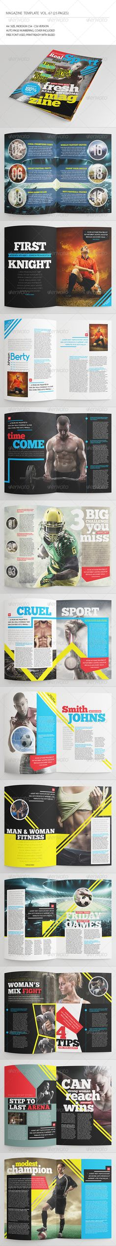 25 Pages Sport Magazine Vol67 by -BeCreative- 25 Pages Sport Magazine Vol67: This item consist of 25 pages that fully editable and customizable.Detail :25 pages Size A4 (8.27×1