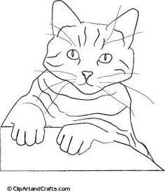 Cat art sketch for coloring or adult art hobby painting, print out this drawing by Lee Hansen at ClipArtandCrafts.com