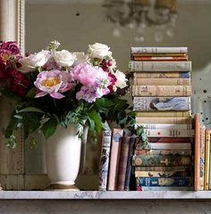 With antique books on mantel
