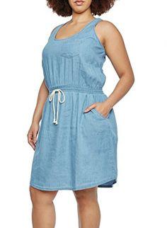 52329850a3 27729XRBLU2X Rouge Collection Plus Size Womens Chambray Smocked Tank Dress  with Drawstring and Waist Pockets  gt