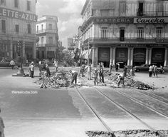 Removing the old tram rails from the corner of Prado and Neptuno  Havana (old picture)
