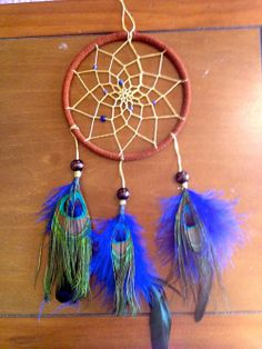 Dream Catcher 5 with Peacock Feathers by DreamDen on Etsy
