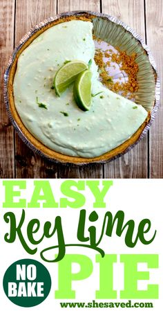 This Easy Key Lime Pie Recipe is a total snap to make and it's so good! Just a few basic ingredients mixed together, chill for an hour, and dig in! Easy Pie Recipes, Lime Recipes, Best Dessert Recipes, Dessert Ideas, Key Lime No Bake, Easy Key Lime Pie Recipe No Bake, Fluff Desserts, Lemon Desserts, Sweet Desserts