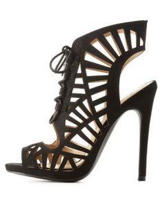 85761d5c8bdd Qupid Lace Up Laser Cut Sandals Peep Toe Heels