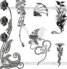 Einfache florale Ornamente im Jugendstil - Vinyl-Ready Vektor-Clipart