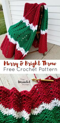 Merry and Bright Crochet Throw Free Crochet Pattern The Unraveled Mitten Chevron Ripple Crochet Stitch Crochet Afghans, Crochet Throw Pattern, Tunisian Crochet, Crochet Stitches Patterns, Crochet Throws, Knitting Patterns, Ripple Crochet Blankets, Ripple Afghan, Crochet Cushions