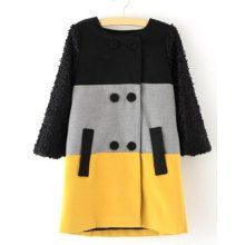 Sweet Round Collar Color Block Double-Breasted Long Sleeves Loose-Fitting Women's Overcoat