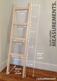 DIY Quilt Ladder - Measurements and Dimensions. | SydneyMakesStuff |                                                                                                                                                                                 More