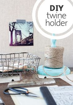 Keep that twine in line! Create a simple DIY twine holder for your craft room.