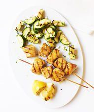Lemony Chicken Kebabs with Zucchini Salad Recipe