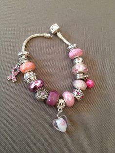 Princesss Pinks Euro Glass Beaded Charm Bracelet  Hand Designed Jewerly / Purchase at https://www.etsy.com/shop/TahoeBlueDesigns