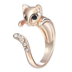 18K Gold Plated Rose Gold Finish Cat CZ Adjustable Ring