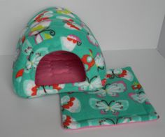 Cavy Shack in Teal Butterflies with Bubblegum Pink