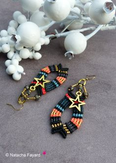 Micro macrame black gold neon coral pink japanese beads miyuki golden star charms earrings surgical steel french jewelry designer France