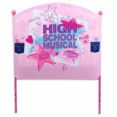 Disney High School Musical Fabric Headboard by Disney. $24.72. This rockin' High School Musical Fabric headboard features the High School Musical logo in bold lettering in the middle, and colorful High School Musical doodles, such as shooting stars and hearts. There are also funky scribbles of the names ''Troy'' and ''Gabriella,'' as well as fun High School Musical phrases, including ''Star Dazzle'' and ''You are the Music in Me.'' The High School Musical Twin Padded Headboard f... Bed Frame And Headboard, Headboards For Beds, Headboard Ideas, Kids Bed Frames, Disney High Schools, Baby Crib Sets, Online High School, Baby Comforter, High School Musical