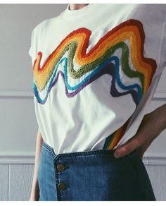 #tshirt #rainbow designed by @tessa_perlow #embroidery #embroideryart #inspiration #teambast #bastmagazine