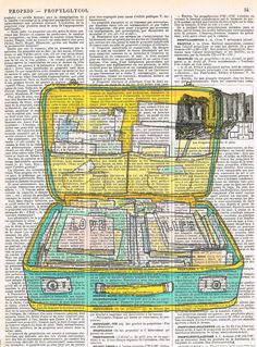 Suitcase Vintage.love.Gift.Retro Book Page by studioflowerpower, $8.50