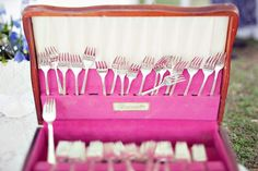 vintage silverware for guest to take out of vintage box