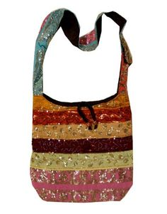 Shinning Silk Sari Sequined Beaded Hippie Hobo Sling Crossbody Messanger Patch Bag India $18.98