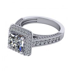 2.43Ct Princess Cut Micro Pave Engagement Ring Available In 14K, 18K and Platinum. Agape Diamonds. Lab created diamonds. Man made diamonds. Wedding. Engagement ring. Wedding ring. Bridal. Gold. Platinum. Diamond. Simulated diamond.