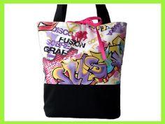 """Tasche / Shopper """"Graffiti""""    Tasche / Shopper aus einem Baumwoll - / Polyestergemisch im bunten Graffitistyle, kombiniert mit einem Canvasstoff i..."""