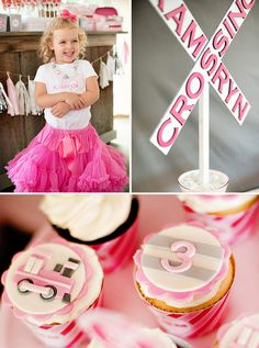 A Girlie & Glam, Train Themed Birthday Party idea for the apothecary jars