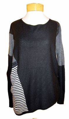 Velvet Yelene Dolman Top - Black What Velvet is famous for. Cool, modern, comfortable, unique clothing. This gorgeous Yelene top is the perfect fall topper for any of fall's yummy jeans and leggings! The bold color blocking in various charcoals, blacks and stripes really pops, and yet is versatile enough to go with so many pants! A great, slouchy, super-soft piece to wow in. http://www.melange4women.com/veyedotopbl.html