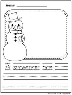 A snowman has . . . writing. Winter writing activities for kindergarten.