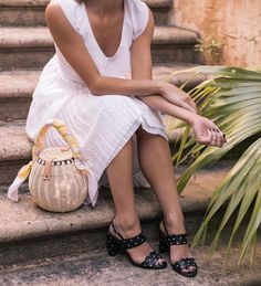 $178 Laser-Cut Pleated Midi White Dress Teamed With A Basket Bag and Black Strappy Sandals