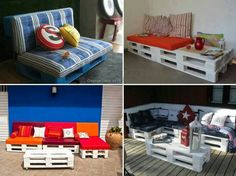 Pallet sofa ideas for outdoors Pallet Crafts, Pallet Projects, Home Projects, Pallet Ideas, Furniture Making, Cool Furniture, Furniture Removal, Outdoor Furniture, Pallette Furniture