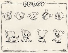 Model sheets of some side characters from the Betty Boop cartoons.