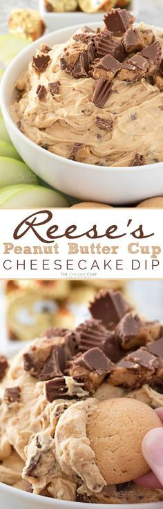 Easy to make, this cheesecake dip is loaded with great creamy flavors and pieces of peanut butter cups. Try it with apple slices or vanilla wafers!