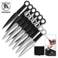 12 Piece Black & Silver Ninja Kunai Throwing Knife Set $20