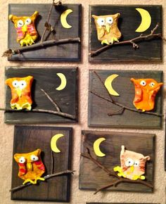 DIY a Owl on a Panel. You need a piece of wood or canvas panel. Some Twigs and a piece of Clay. Make a Clay Circle Fold two sides to form the Owl's body paint the Owl glue everything onto panel Herfst kinder knutsel; DIY een U Clay Owl, Autumn Crafts, Autumn Art, Wood Painting Art, Wood Art, Art For Kids, Crafts For Kids, Kids Diy, First Grade Art
