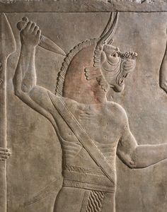 Spirit 'ugallu' or 'Great Lion' (detail), gypsum wall panel relief, North Palace, Kouyunjik, Nineveh, Iraq, neo-assyrian, 645BC-640BC