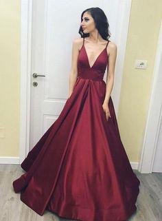 Simple Prom Dress,Burgundy Prom Dress,V-Neck Long Prom Dress,Spaghetti Strap Evening Dresses
