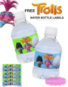 Fun Trolls water bottle labels, perfect for birthday parties, lunch boxes, playdates or just on the go. Trolls fans will love them. Fourth Birthday, 6th Birthday Parties, Birthday Fun, Birthday Ideas, Trolls Birthday Party Ideas Cake, Themed Parties, Troll Party, Bday Girl, Party Themes