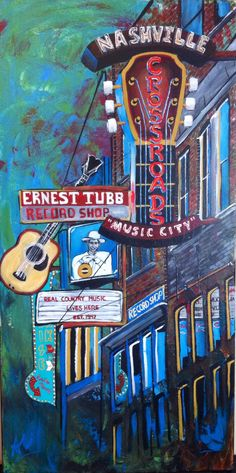 Broadway street, Nashville TN. Cityscapes - Blank Canvas