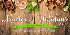 Join us at 8pm EST for DiMe Media's Master the Holidays Pinterest Pinning Party!   Participating is easy. Simply follow the Master the Holidays Pinterest Board and join us TODAY at 8pm EST. Repin, like, and leave comments with your own tips or questions for the co-hosts. Look out for the three prize questions pins that will be shared during the hour. #DiMeHolidays