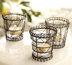 "Favorite French Things Friday - French Wire Ware or ""Fil -de -Fer"" Wood Balusters, Rustic Industrial Decor, Candles And Candleholders, Chicken Wire, Wire Art, Unique Furniture, Tea Light Holder, Bead Crafts, Pottery Barn"