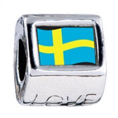 Sweden Flag Photo Love Charms  Fit pandora,trollbeads,chamilia,biagi,soufeel and any customized bracelet/necklaces. #Jewelry #Fashion #Silver# handcraft #DIY #Accessory