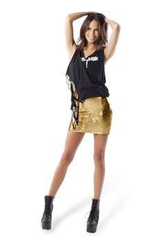 Metallic Velvet Gold Skirt › Black Milk Clothing