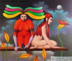 Figurative art by Jose De La Barra: 'Jovenes con aves' fine art print