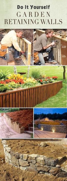 DIY Garden Retaining Walls Lots of tips, ideas and tutorials! Diy Garden, Dream Garden, Lawn And Garden, Garden Ideas, Garden Retaining Wall, Retaining Walls, Outdoor Projects, Garden Projects, Landscape Design