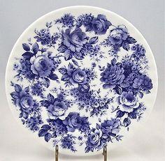 "Fine English Bone China Salad Plate - Blue Rose ""English Chintz"" - Roy Kirkham"