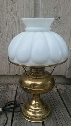 Vintage Rayo Brass Electric Kerosene Hurricane Lamp White Glass Ribbed Shade