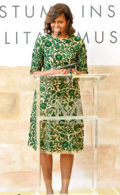 Emerald Sheath from Michelle Obama's Best Looks  Mrs. O wears one of her go-to designers, Naeem Khan, at the Costume Center Grand Opening in New York City.