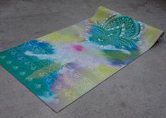 Lotus and tie dye printed yoga mat by vagabond goods.